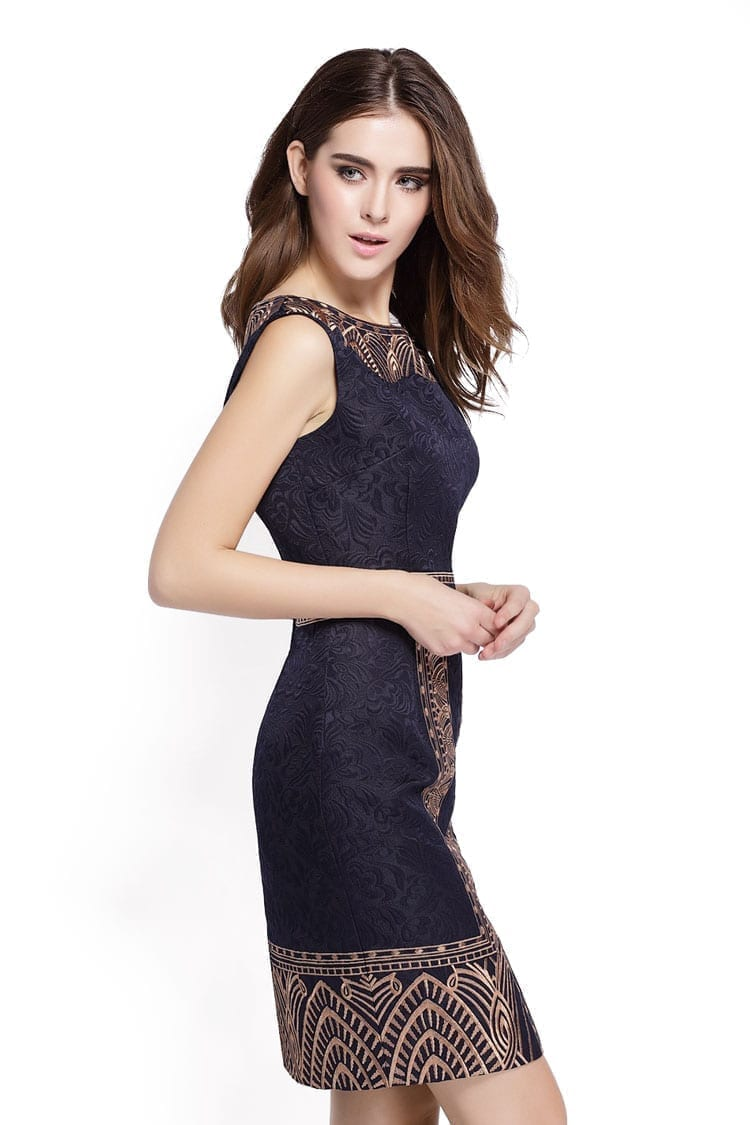 Embroidery Print Sleeveless Slim Waist Office Dress