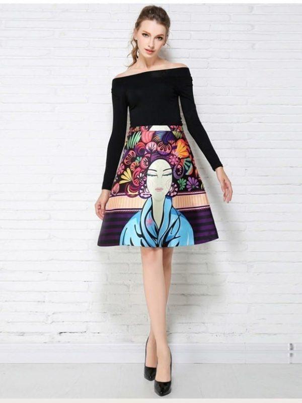 Knee-length Portrait Print Skirt