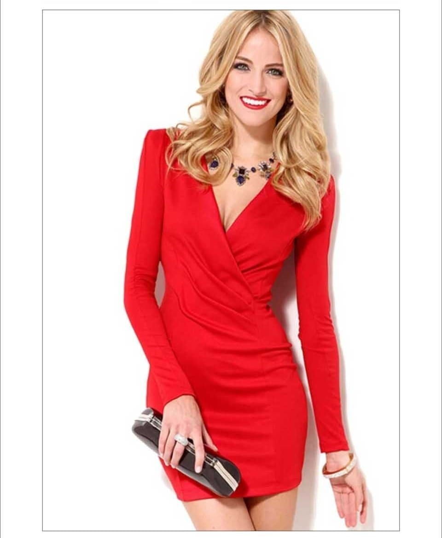 V-neck Long Sleeve Short Dress