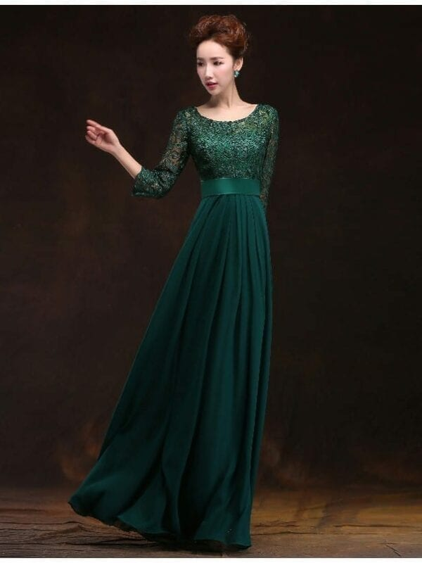 O-neck A-line Chiffon Long Mother Of The Bride Lace Dress