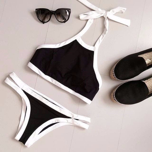 Crop Top Hang High Neck Bikini Set