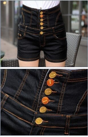 High Waist Slim Hip Plus Size Jeans Shorts