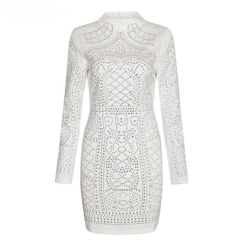 Geometric Pattern Rhinestone Turtleneck Long-sleeved Bodycon Tight Dress