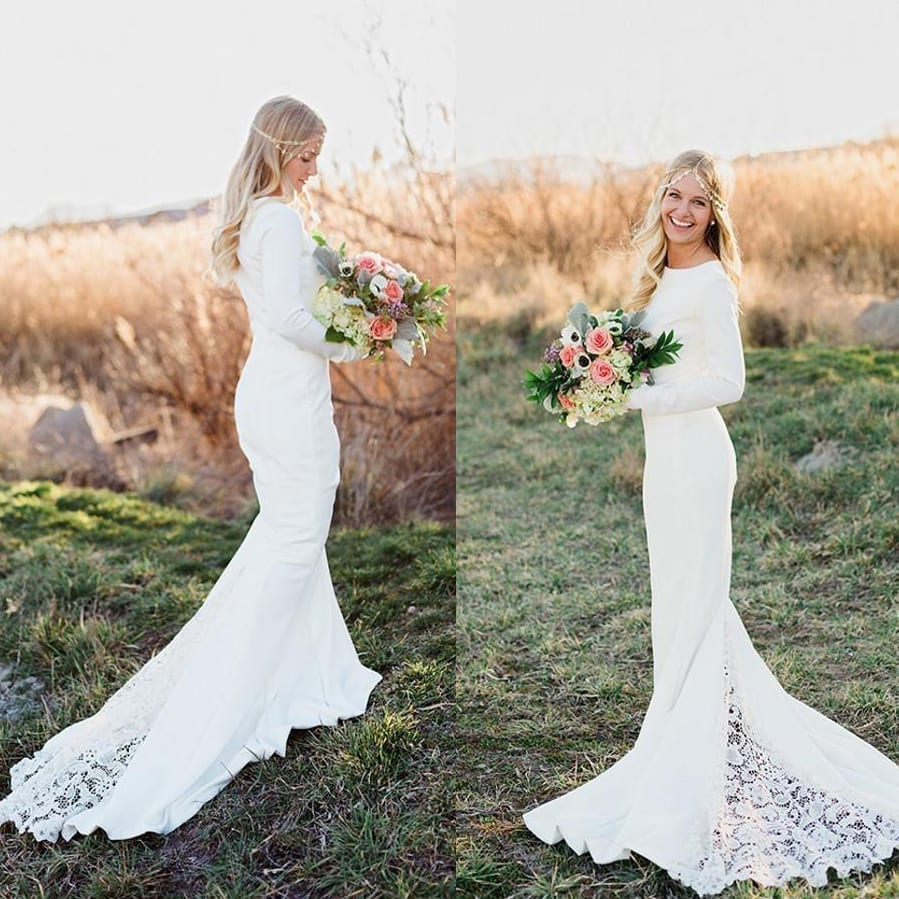 Long Sleeve Vintage Chapel Train Mermaid Lace Boho Wedding ...