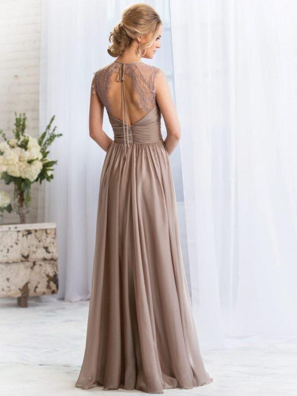 Elegant Long A-line Lace Chiffon Bridesmaid Dress