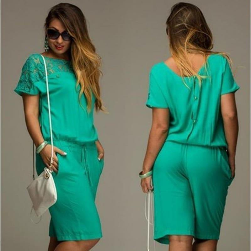 Short Sleeve Lace Plus Size Knee-length Jumpsuit