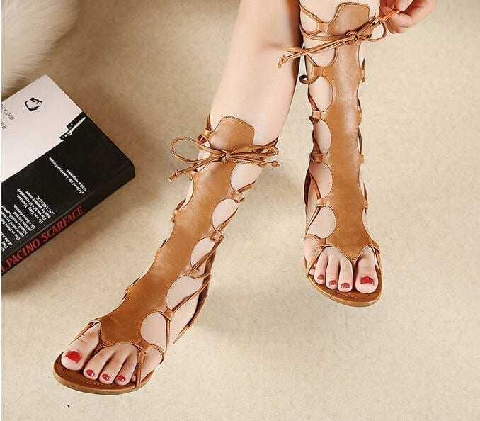 Knee High Hollow Out Leather Gladiator Sandals