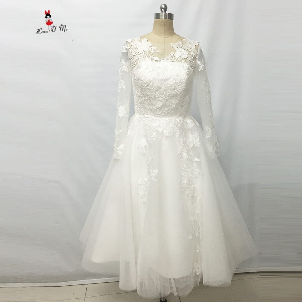 Elegant Ivory Lace Long Sleeves Tea Length Wedding Dress