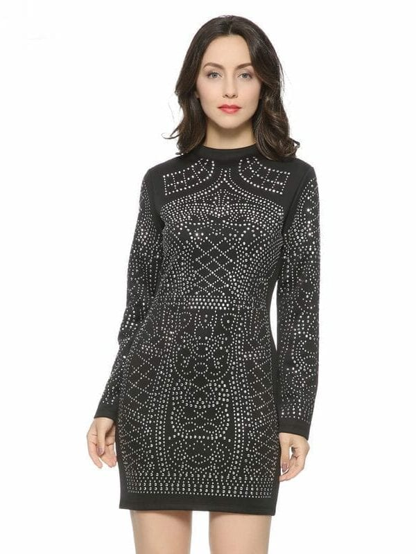 Geometric Pattern Rhinestone Turtleneck Long-sleeved Bodycon Tight Dress
