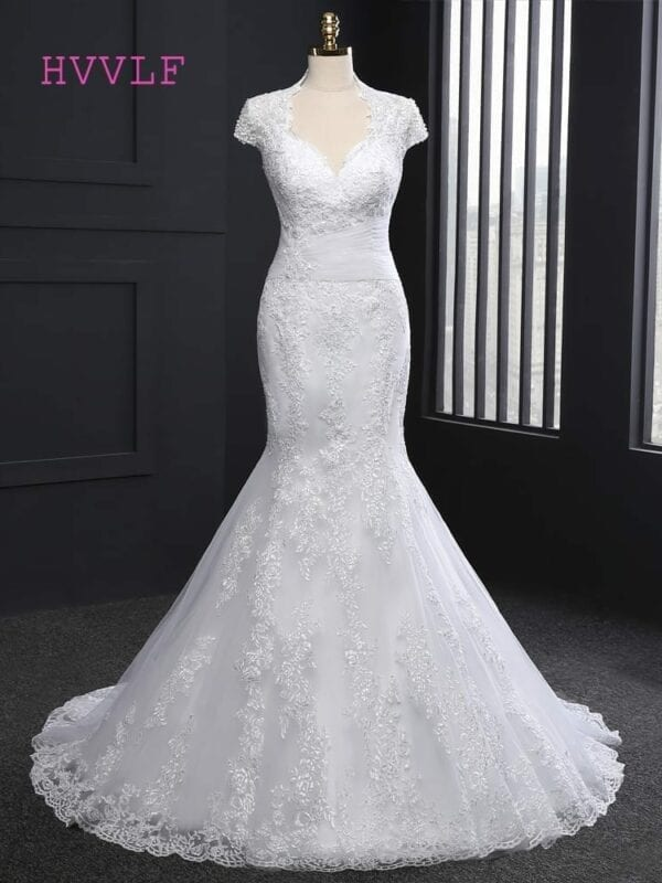 Cap Sleeves Appliques Plus Size Mermaid Wedding Dress