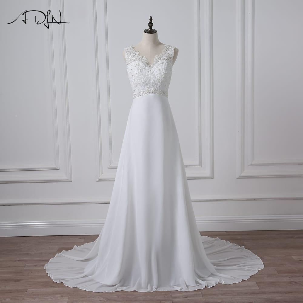 Elegant V-neck Zipper Back Lace Wedding Dress