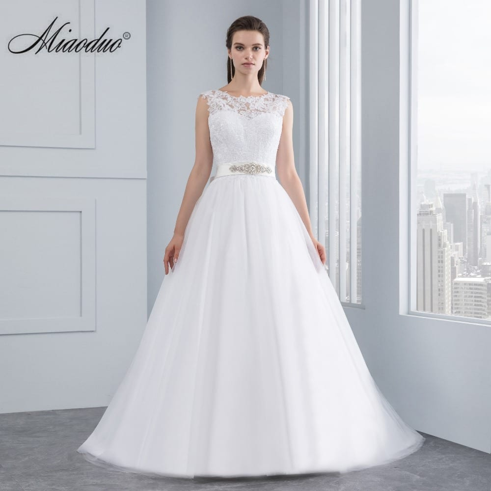 Rommantic A-line Lace Satin Backless Wedding Dress
