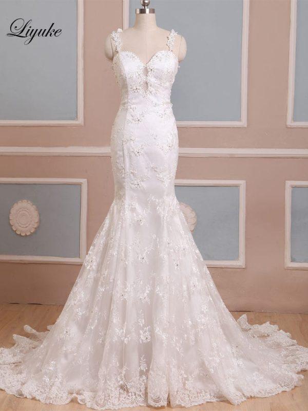 Spaghetti Straps Lace Applique Pearls Sleeveless Long Mermaid Backless Wedding Dress