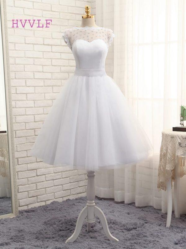 Elegant A-line Tea Length Tulle Crystals Bow Backless Wedding Dress