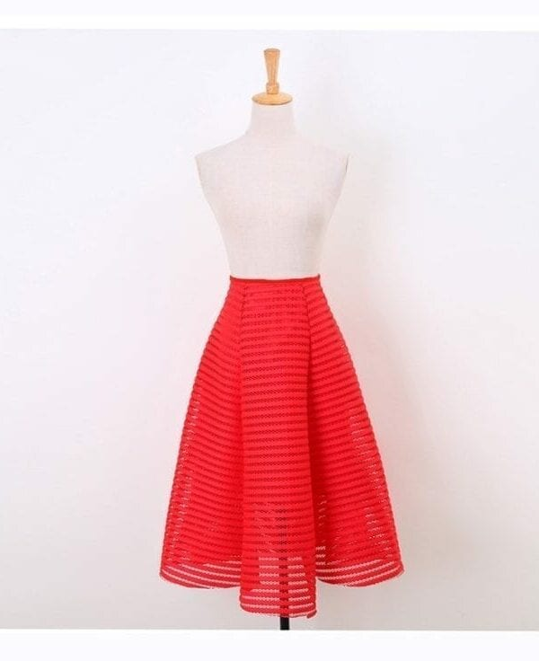 Striped Hollow Out Fluffy Swing A-line Pleated Midi Skirt