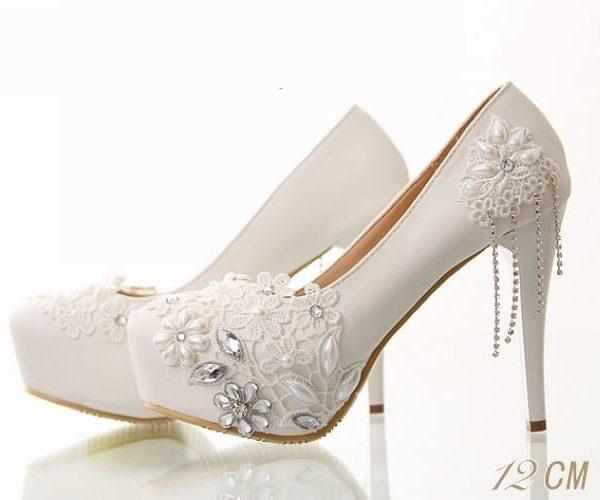 ab29d98848d White Lace Flower Non-Slip High-Heeled Platform Wedding Shoes -  Uniqistic.com