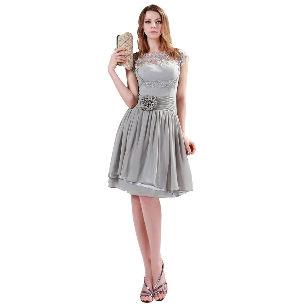 Gray Knee Length Short Chiffon Bridesmaid Dress