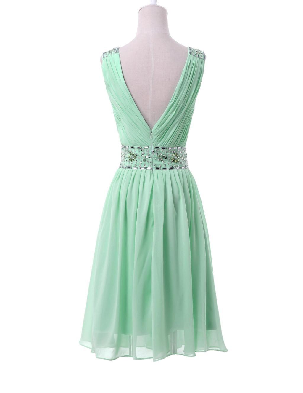 Mint Green Short Chiffon Sequin Bridesmaid Dress