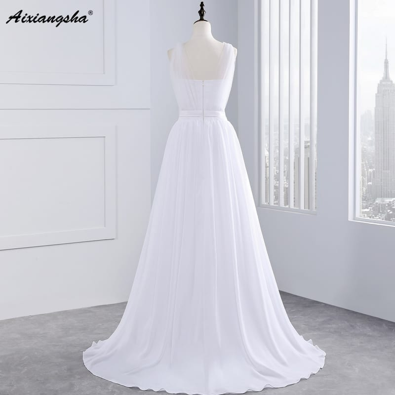 A-line Tank V-neck Flowers Chiffon Wedding Dress