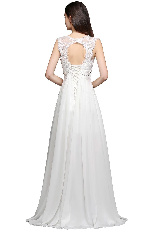 Chiffon Beading Boho Beach Wedding Dress