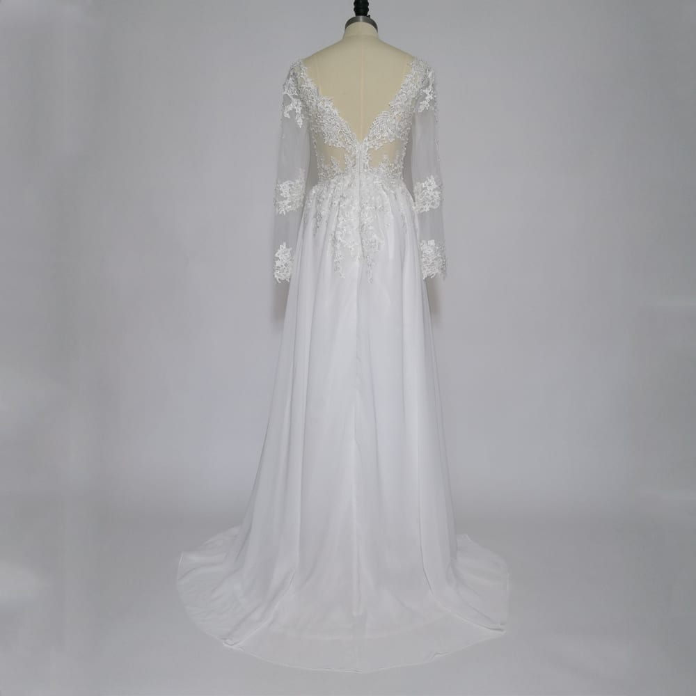 Long Sleeve Lace Appliques Pearls A-line Beach Wedding Dress