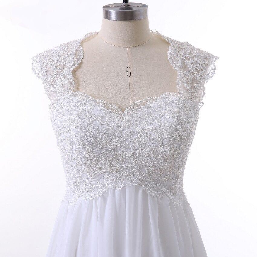 Beauty A-line Beach Boho Lace Maternity Wedding Dress