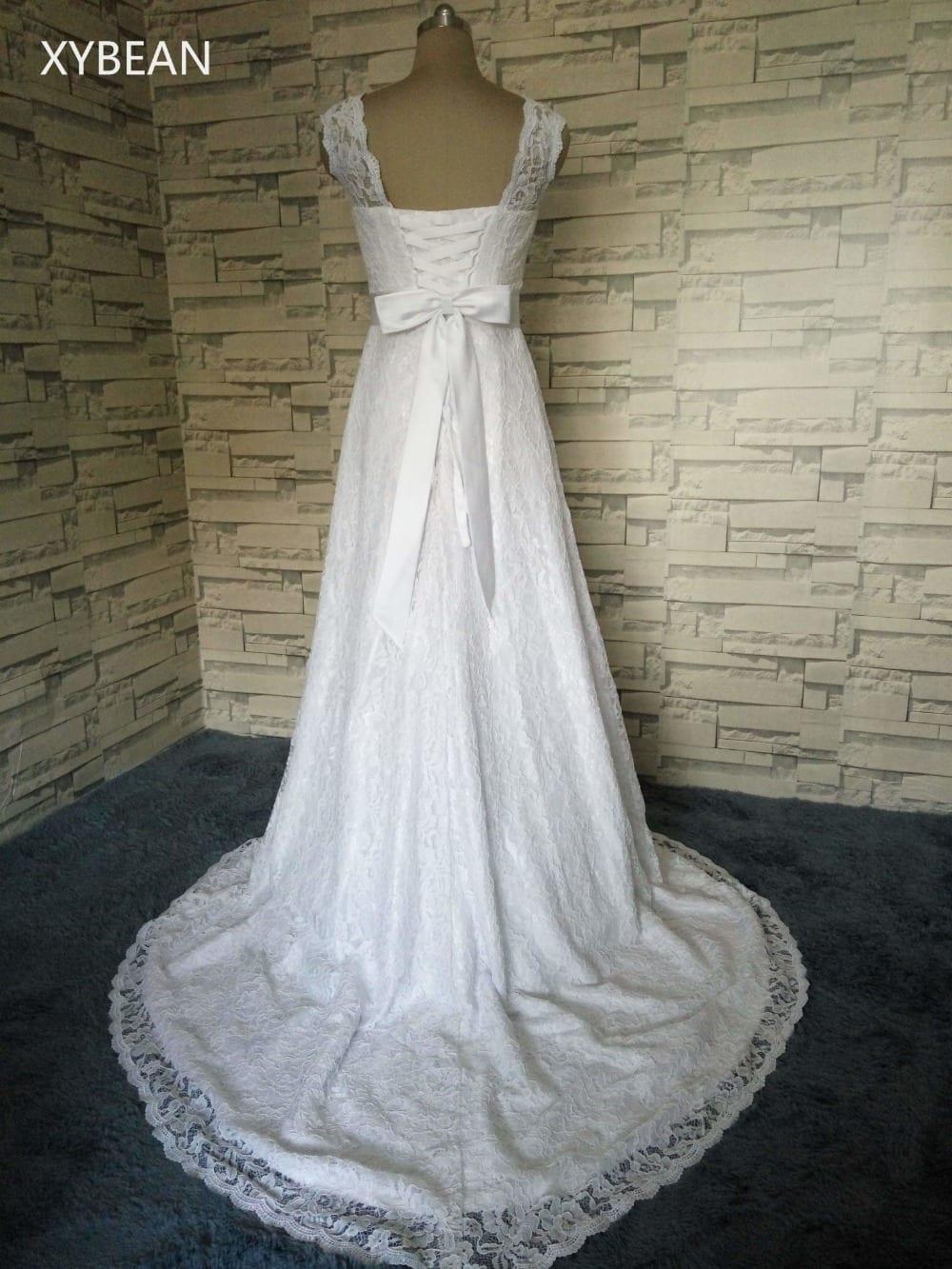 Cap Sleeve Lace Sashes A-line Wedding Dress