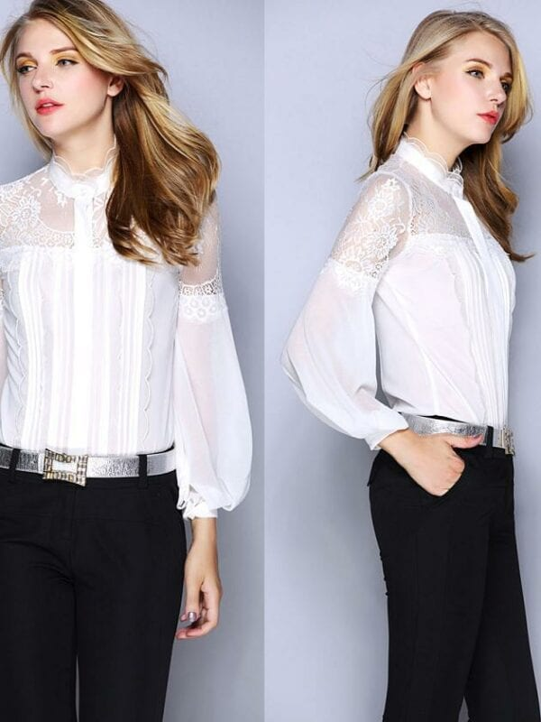 Lace Patchwork Long Sleeve Vintage Office Work Shirt