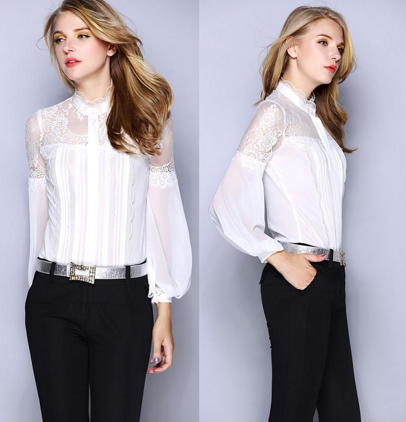 Lace patchwork long sleeve vintage office work shirt for Tops shirts and blouses