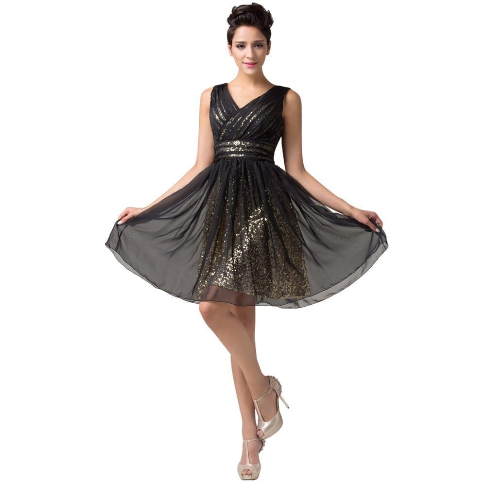 Sleeveless Black Chiffon V-neck Knee Length Sequin Cocktail Dress