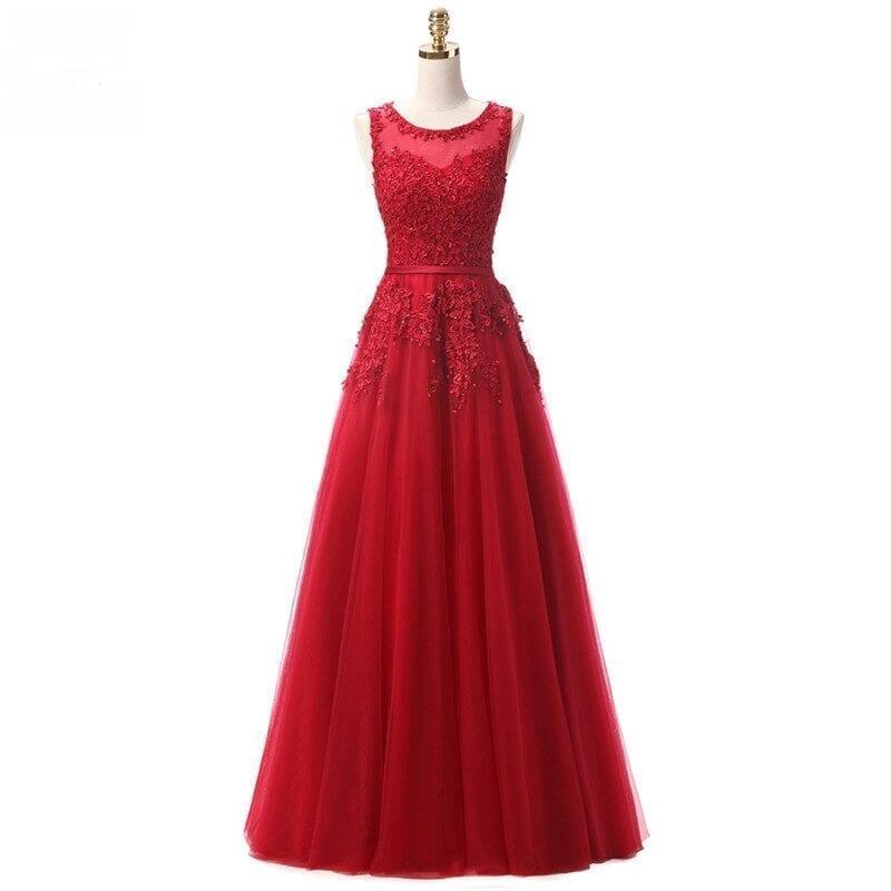 Sleeveless Lace Beading Long Evening Dress
