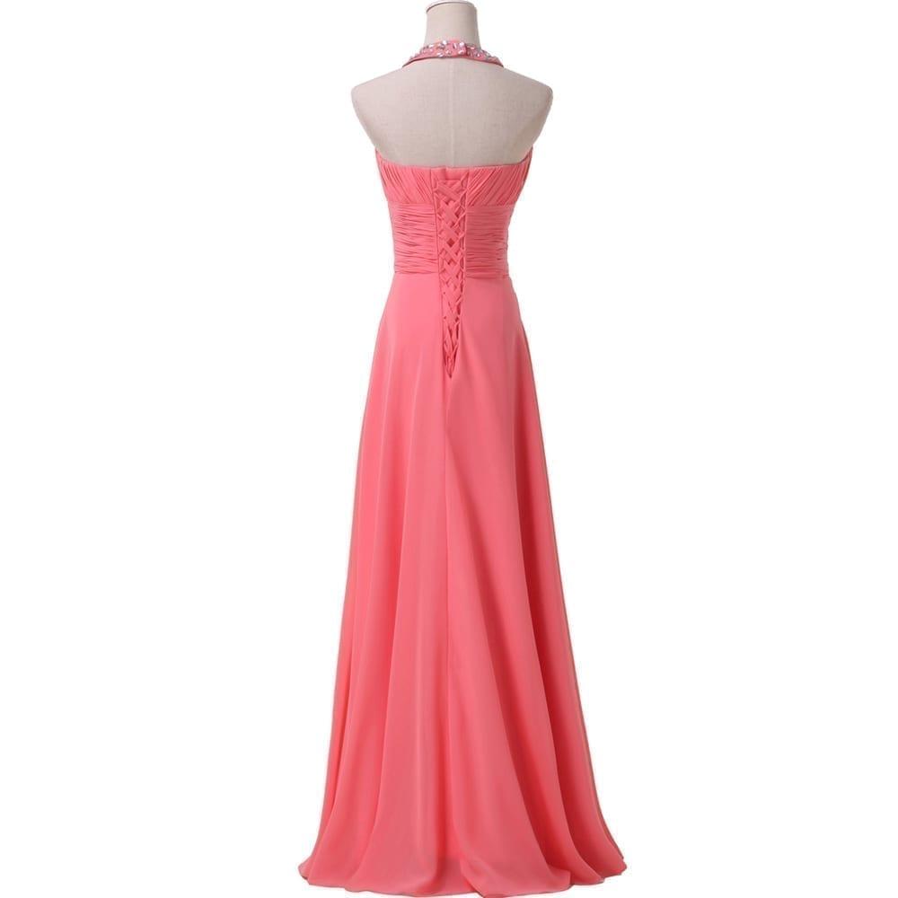 Chiffon Watermelon Long Bridesmaid Dress