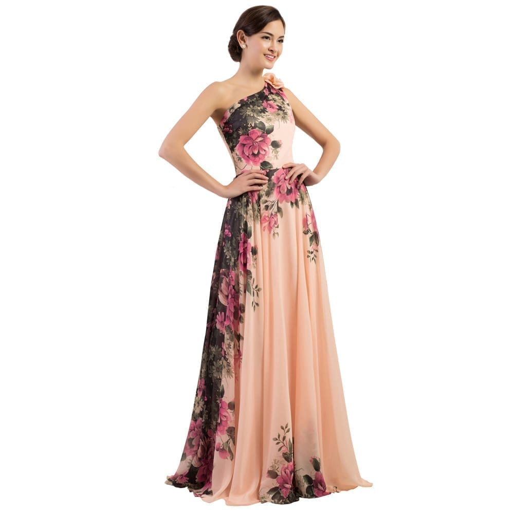 One shoulder long printed flower evening bridesmaid dress for Wedding and evening dresses