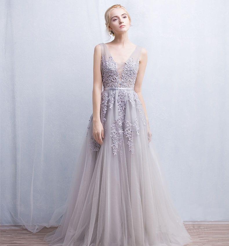 6ace12071 V-Neck Lace Appliques Long Tulle Evening Dress - Uniqistic.com