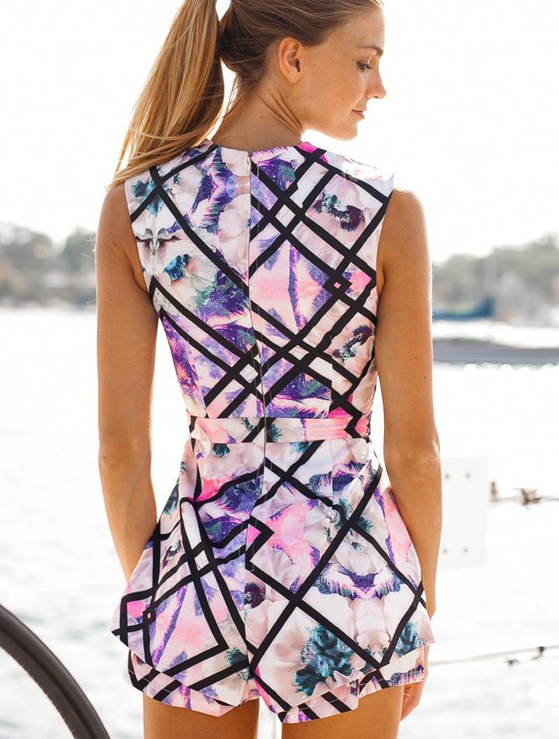 High Waist Sleeveless Floral Print Jumpsuit