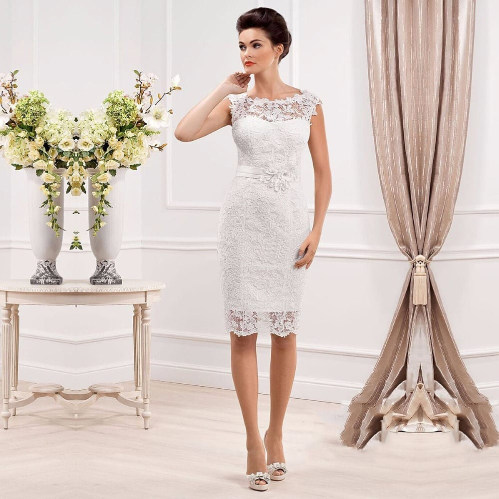 Elegant Cap Sleeve Lace Appliques Button Short Wedding ...