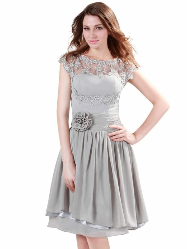 Gray Knee Length Short Chiffon Bridesmaid Dress