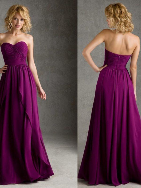 Elegant Floor-length Chiffon Ruching Sweetheart A-line Purple Bridesmaid Dress