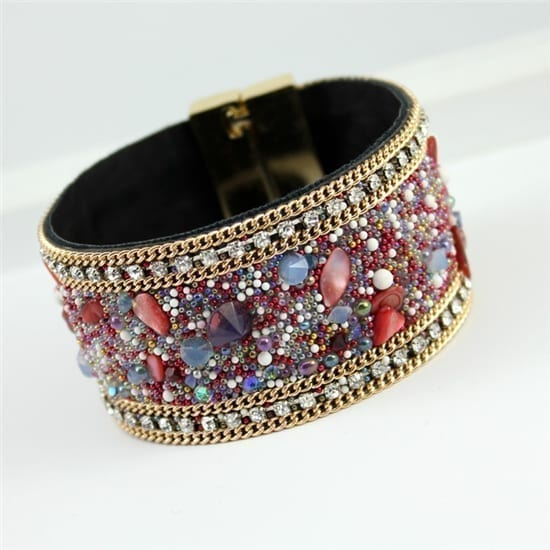 Magnetic Clasp High-grade Leather Crystal Stones Bracelet