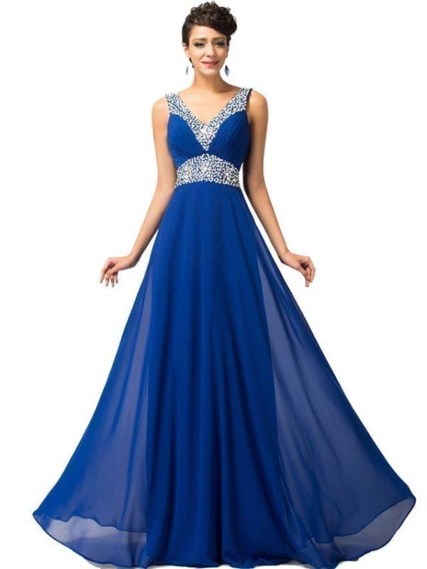 Pretty Floor Length Blue Bridesmaid Dress