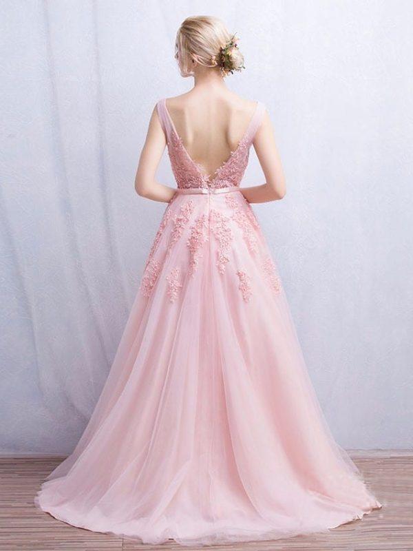 V-neck Lace Appliques Long Tulle Evening Dress