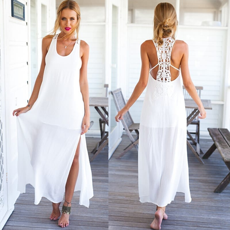 1228328c34 White Long O-Neck Lace Beach Maxi Dress - Uniqistic.com