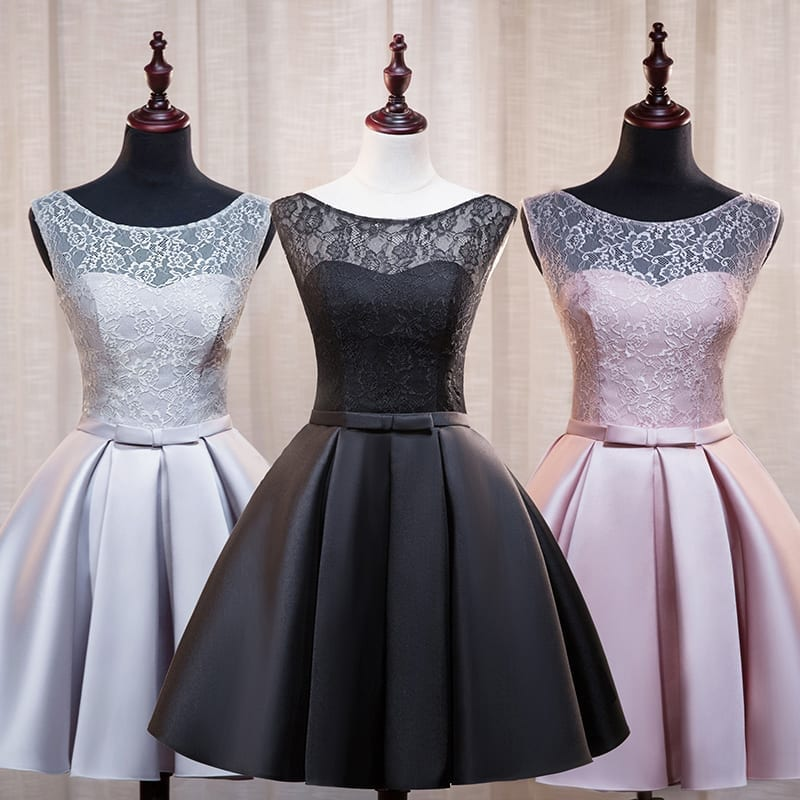 Lace Satin A-line Sleeveless Short Evening Dress