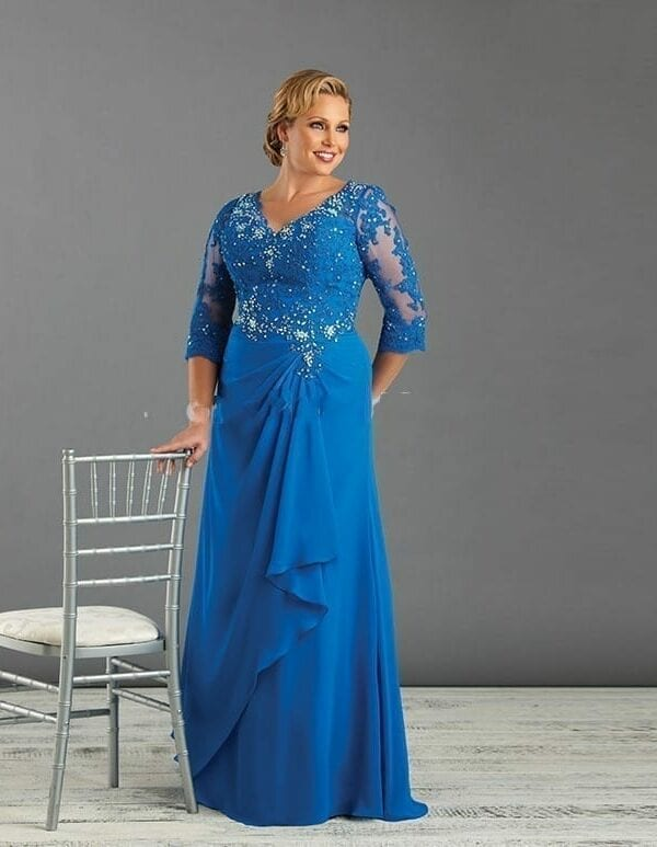 Appliques Beading Chiffon Blue Plus Size Mother Of The Bride Dress With Sleeve