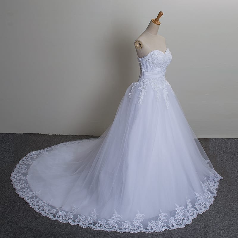 Long Train Crystal White Tulle Sleeveless Wedding Dress