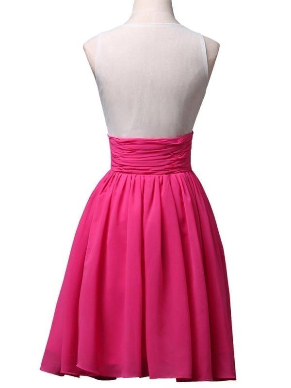 Knee Length Deep Pink Cocktail Dress