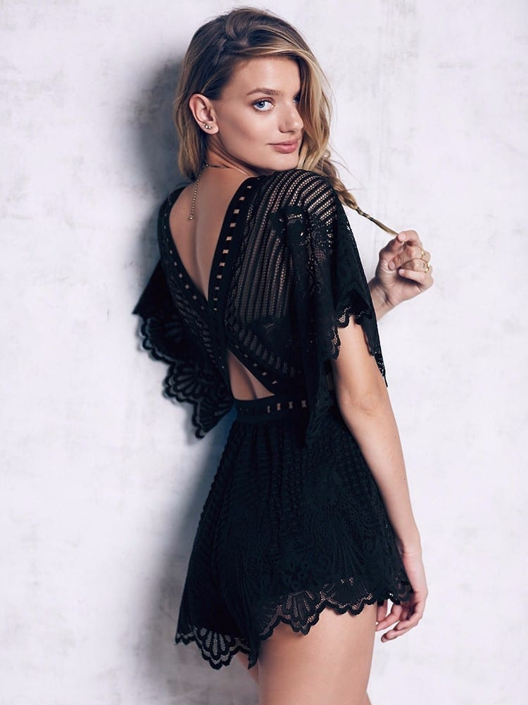 Black Lace Ruffles V-neck Short Sleeve Elegant Jumpsuit