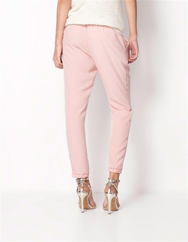 Chiffon Elastic Waist Solid Color Office Pants