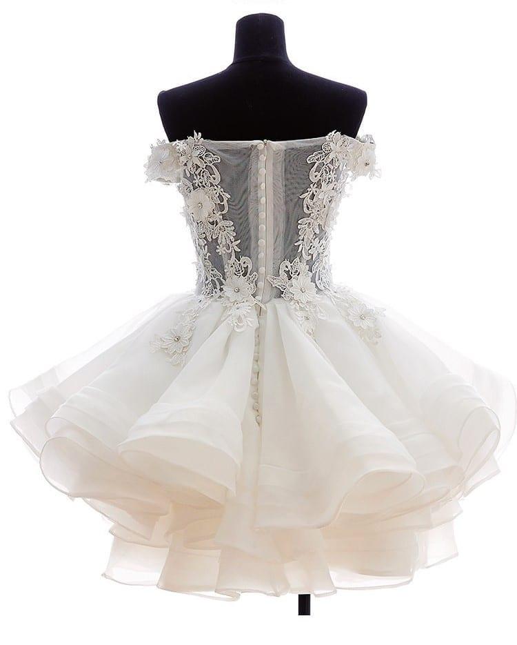 White Short Lace Off The Shoulder Organza Wedding Dress