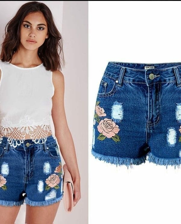 High Waisted Denim Floral Ripped Shorts
